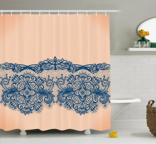 Abstract Shower Curtain by Ambesonne, Lace Detailed Image with Orange Like Ombre Background with Floral Design, Fabric Bathroom Decor Set with Hooks, 70 Inches, Peach and Indigo
