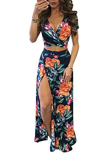Wrap Skirt Set (Womens Floral Print 2 Piece Crop Top Skirt Set High Slit Long Maxi Dress M)
