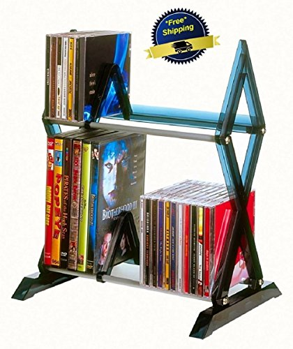 Rack CD DVD Storage Organizer Shelf 2 Tiers Tower Cabinet Stand Multimedia Games from WarU Home