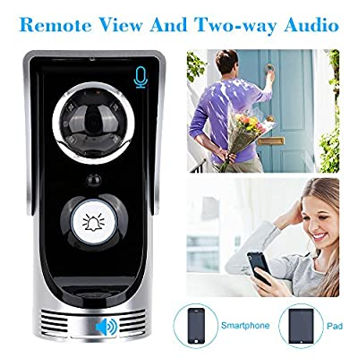 CHRISTMAS SALE - New Upgraded -Global Wireless Video Doorphone & Doorbell WIFI Intercom System Night Vision Weatherproof - PIR Motion Activated, Waterproof, Support Android IOS APP, Unlock by Phone