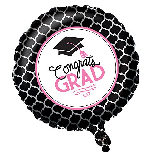 Congrats Grad Beads (Creative Converting Metallic Balloon with Glamorous Grad Collection, Black/White/Pink)