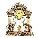 HONGNA European Mute Resin Clock Clock Lucky Town House Elephant Pendulum Clock Retro Quartz Table Clock Living Room Creative Desktop Decoration Clock (Color : B)