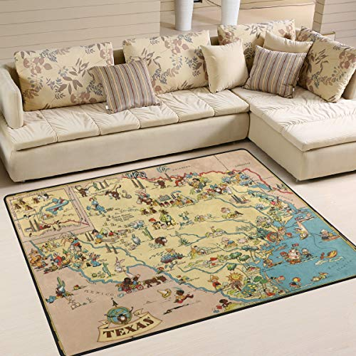 (XiangHeFu Soft Doormats 7'x5' (80x58 Inches) Area Rugs Texas State Map Cartoon Pattern Non-Slip Floor Mat Resting for Living Room Bedroom)
