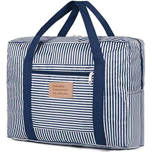 Foldable Travel Duffel Bag Large Clothes Storage Stripes Tote Bag Container Organizer Bin with Double Zipper & Carry Handles Tote for Comforters,Blankets,Bedding,Duvets,Clothes,Pillows,Sweaters,Blue
