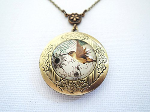 (Antique brass Hummingbird Locket Necklace,Bird Pocket Watch,Dandelion Locket Necklace,)