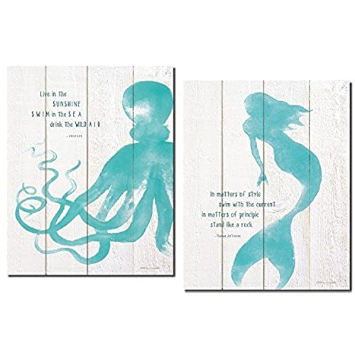 mermaid bedroom decor. Beautiful Inspirational Mermaid and Octopus Set  2 11x14 Poster Prints Printed On Paper Not Wood Decor for Bedroom Amazon com