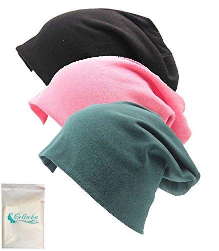 Gellwhu Unisex Cotton Beanies Soft Sleep Cap for Hairloss Cancer Chemo 3 - Pack (Pack B)