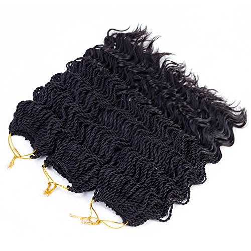 14'Wavy Senegalese Twist Free Ends Synthetic Braiding Hair Extensions 35 Roots/Pack 85g Kanekalon Ombre Jumbo Crochet Braids Pre-looped Hair (3 pcs 14 inch, #1b)