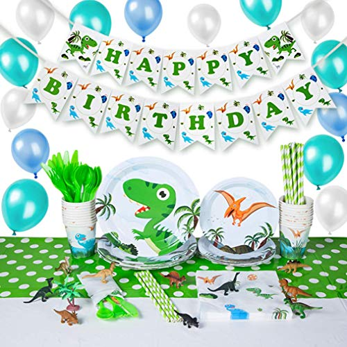 Dinosaur Theme Party Supplies Set For 20 Guests With Plates, Balloons, Napkins, Tablecover, Cups,Knife and Fork Spoon,Birthday Banner,Add Dinosaur Model Toy