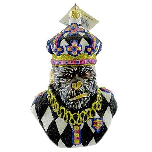 Larry Fraga HARLEQUIN KING KONG Blown Glass Ornament Monkey Ape Mardi Gras 5929B