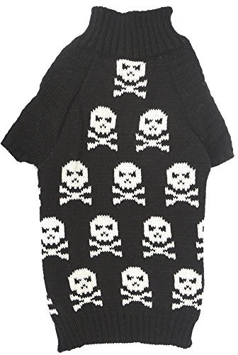 Kittens In Costumes (Black Fashion Pet Clothes Skull Print Dog Kitten Puppy Sweater, X-Small (XS) Size)