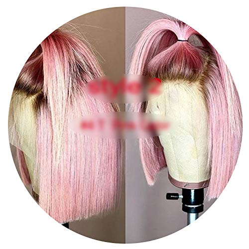 Pink Human Hair Wig Bob Wig Pre Plucked Glueless Full Lace Human Hair Wigs Brazilian Virgin Hair Short Lace Wigs,Pink,10inches,130% ()