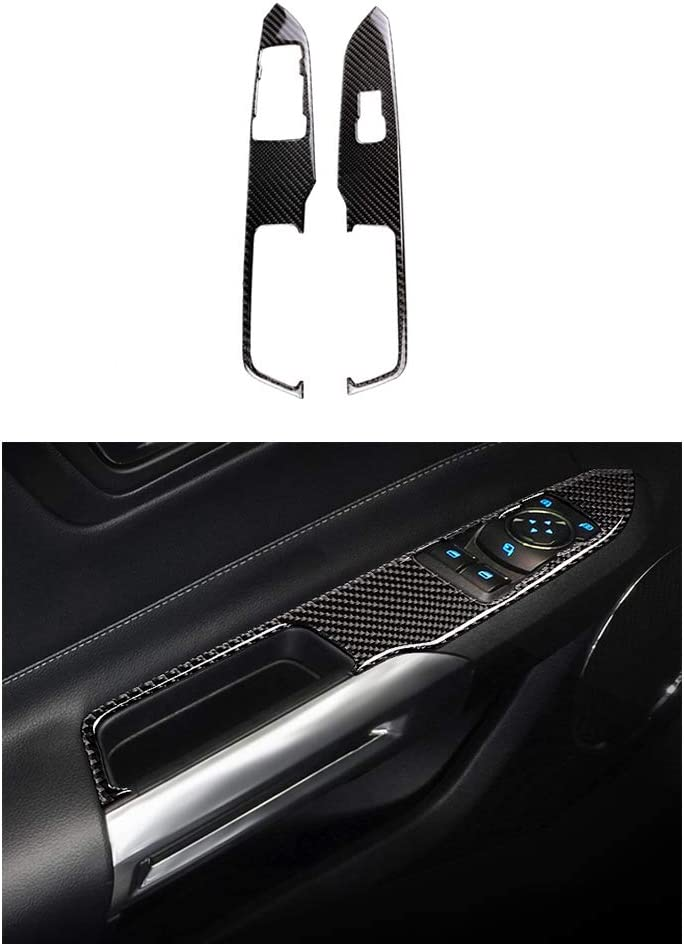 Thor-Ind Center Console Carbon Fiber Decoration for Ford Mustang 2015-2018 Start Button Cover - Black