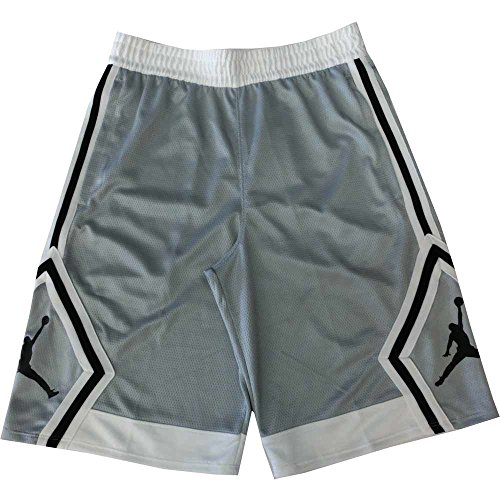 8fdf2db852dc2 Nike Mens Jordan Rise Diamond Basketball Shorts Wolf Grey/White 887438-012  Size Large