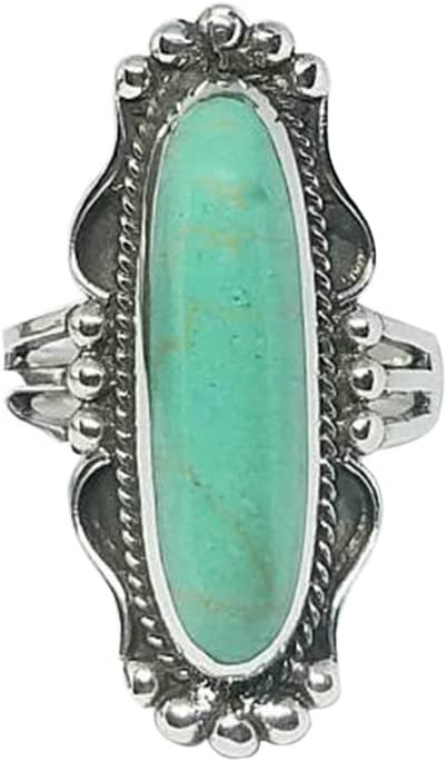 Women Vintage Turquoise Gemstone Ring Wedding Engagement Ring Jewelry 8C