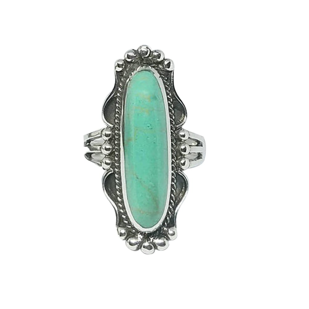 Wintefei Vintage Finger Decor Oblong Turquoise Ring Women Wedding Engagement Jewelry - US 7 Turquoise#