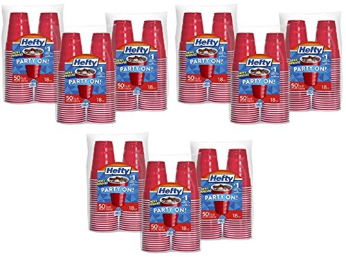 Hefty 18-ounce Red Plastic Party Cups (Total of 150 Cups in 3 Packs)