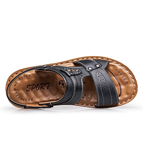 Size8 5 Sandals Breathable Salabobo Leisure Leather 6166 QYY Beach Mens UK Cozy Athletic Black New nOYwq6vO