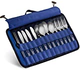 13 Piece Stainless Steel Family Cutlery Picnic Utensil Set with Travel Case