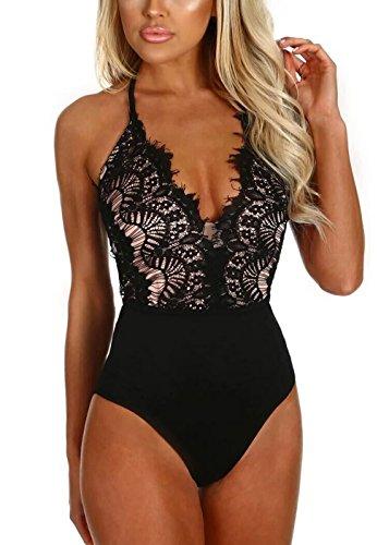 HUUSA Women Jumpsuit Black Eyelash Lace Sleeveless Bodysuit Tops M ()