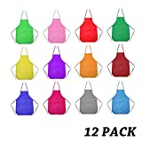 Senfhome Children Aprons Multicolored Kids Artists Aprons, Children's Artists Fabric Aprons Kitchen, Classroom, Community Event, Crafts Art Painting Activity (12 Pack)