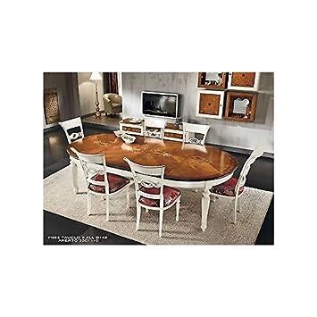 tavolo rotondo allungabile bicolore legno massello: amazon.it ... - Tavolo Cucina Rotondo