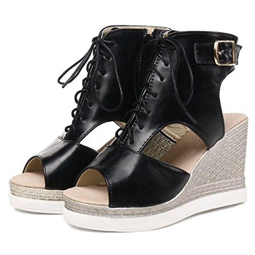 Zapatos Verano Mujer Casual Zanpa black Cuna Tacon Sandalias 3 de AtEqdRwvx
