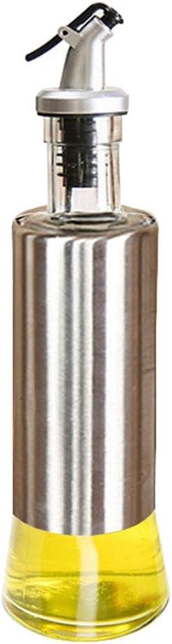 KA10011 W/·Z 11oz Glass Olive Oil Dispenser Stainless Protection Soy Sauce Vinegar Bottle