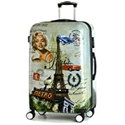 DK Luggage Lightweight ABS Polycarbonate Hardshell Cabin 20″ Suitcases 4 Wheel Spinner Paris Metro