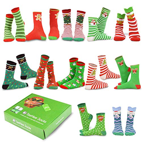 TeeHee Christmas Holiday 12-Pack Gift Socks for Women with Gift Box (Holiday-B)]()