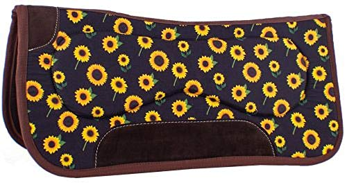 Showman 31″ x 32″ x 18mm Built Up Felt Saddle Pad with Sunflower Design