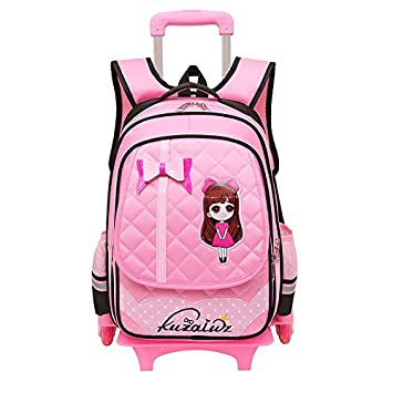 Los niños MinegRong Trolley Mochila escolar mochila con ruedas bolsas de equipaje de dibujos animados para niños Grils rueda estudiante mochilas escolares ...