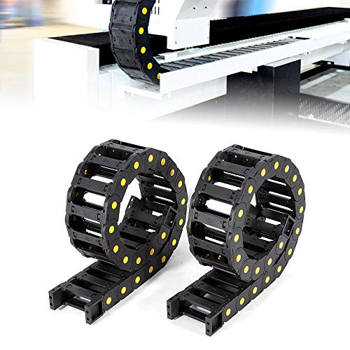 WUPYI 2pcs Black Plastic Open Type Cable Carrier Drag Chain 1M Length 25 x 77mm Internal Size for CNC Electronic Equipment,Reinforced Nylon PA66 ()