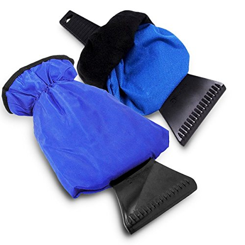 Zento Deals Waterproof Ice Scraper Vehicle Mitt - 2-Pack Superb Quality Blue Car Windshield Ice Snow Remover Glove