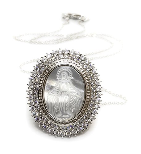 (LESLIE BOULES Miraculous Medal Mother of Pearl Pendant Silver Plated Chain 18