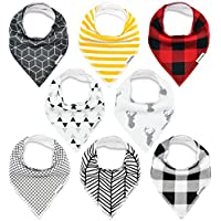 Baby Bandana Drool Bibs, for Drooling and Teething Unisex 8 Pack Set for Boys...