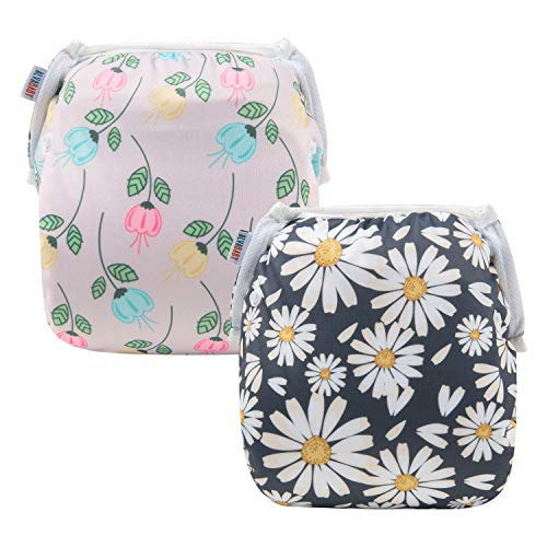 ALVABABY Swim Diapers for 0-3 Years Large Size 2pcs Reuseable Washable & Adjustable for Swimming Lesson & Baby Shower Gifts (Floral&Daisy, ZYK-2108)