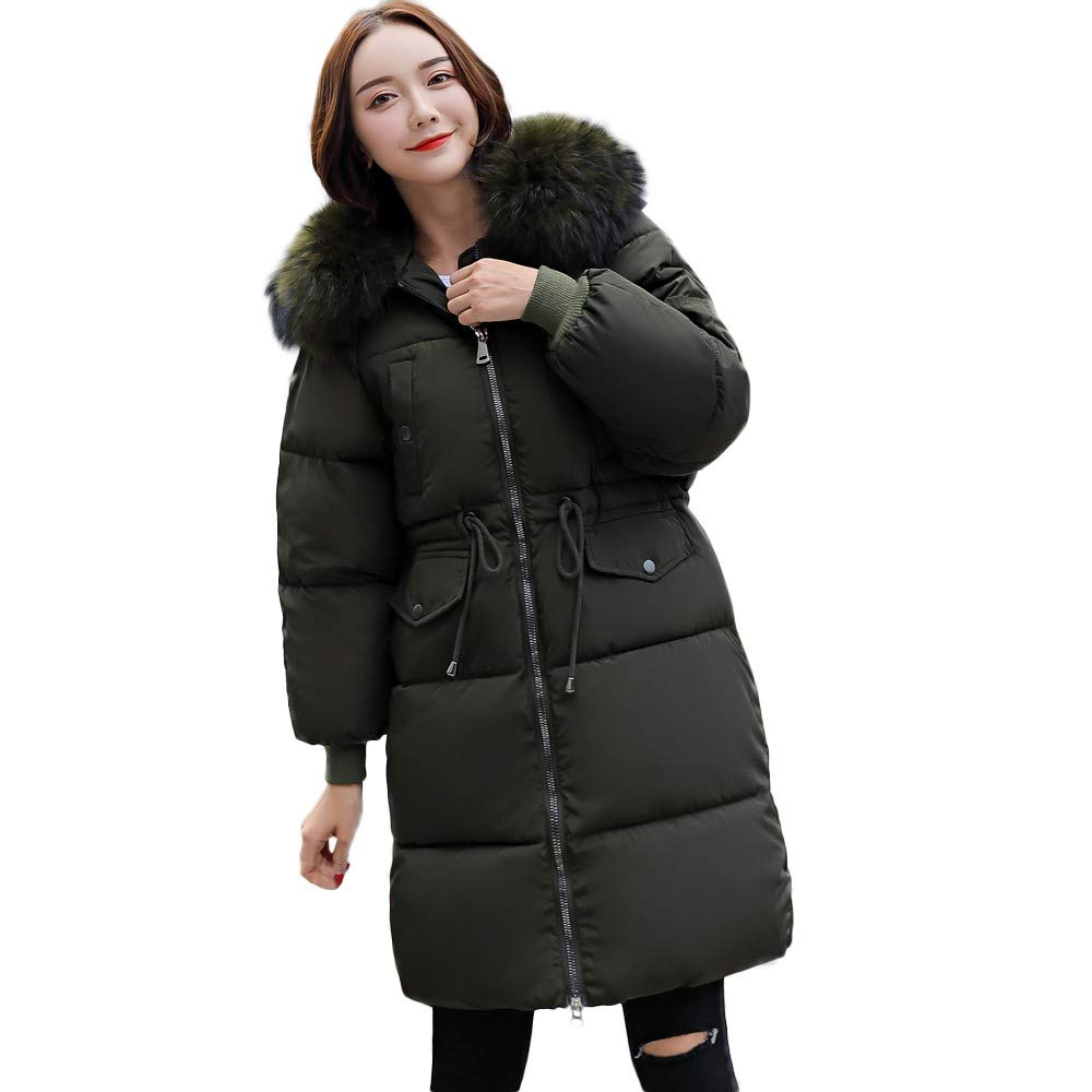 Dacawin Women's Winter Windproof Warm Down Cotton Long Parka Hooded Coat Quilted Jacket Outwear by Dacawin