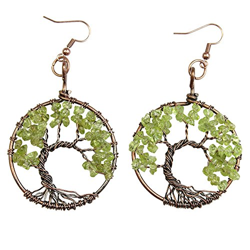 Tree Shape Earring (BAYUEBA Earrings Tree of Life Amethyst Peridot Chakra Copper Wire Wrap Hook Gemstone Jewelry Peridot)