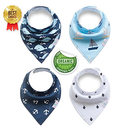 Bu Fashion (Fashion Design Bandana Baby Dribble Bibs - Keeps Baby Clean and Dry - Super Absorbent Bandana Bibs - Comes in Sets of 4 Stylish and Functional Bib - Ultra Comfortable Design - 100% Cotton (Blue))