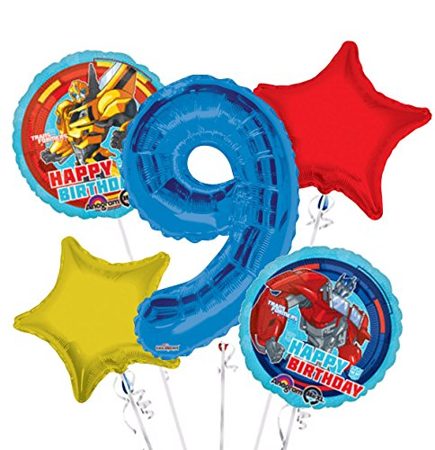 Transformers Happy Birthday Balloon Bouquet 9th Birthday 5 pcs - Party -