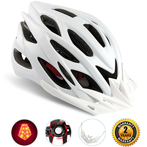 Basecamp Specialized Bike Helmet with Safety Light,Adjustable Sport Cycling Helmet Bicycle Helmets for Road & Mountain Motorcycle for Men & Women,Youth Safety Protection (White with Big Light)