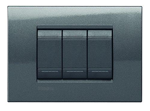 46 opinioni per BTicino Living Light LNA4803AC Placca Quadra 3P, Acciaio