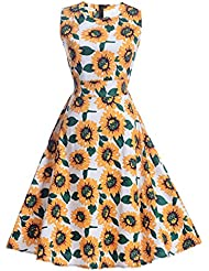 TraveT Women Vintage Dress Floral Print Sleeveless Big Hem Elegant Dress