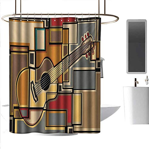 - coolteey Shower Curtains for Bathroom Brown Music,Funky Fractal Geometric Square Shaped Background with Acoustic Guitar Figure Art,Multicolor,W72 x L96,Shower Curtain for clawfoot tub