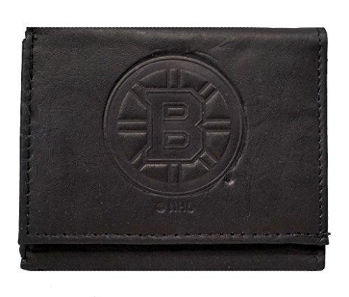 Rico Boston Bruins NHL Embossed Logo Black Leather Trifold Wallet