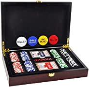 DUCIHBA Poker Set with 200 Pieces- 14 Gram Casino Clay Chips, Two Decks of Playing Cards & 5 Poker Dice, 4