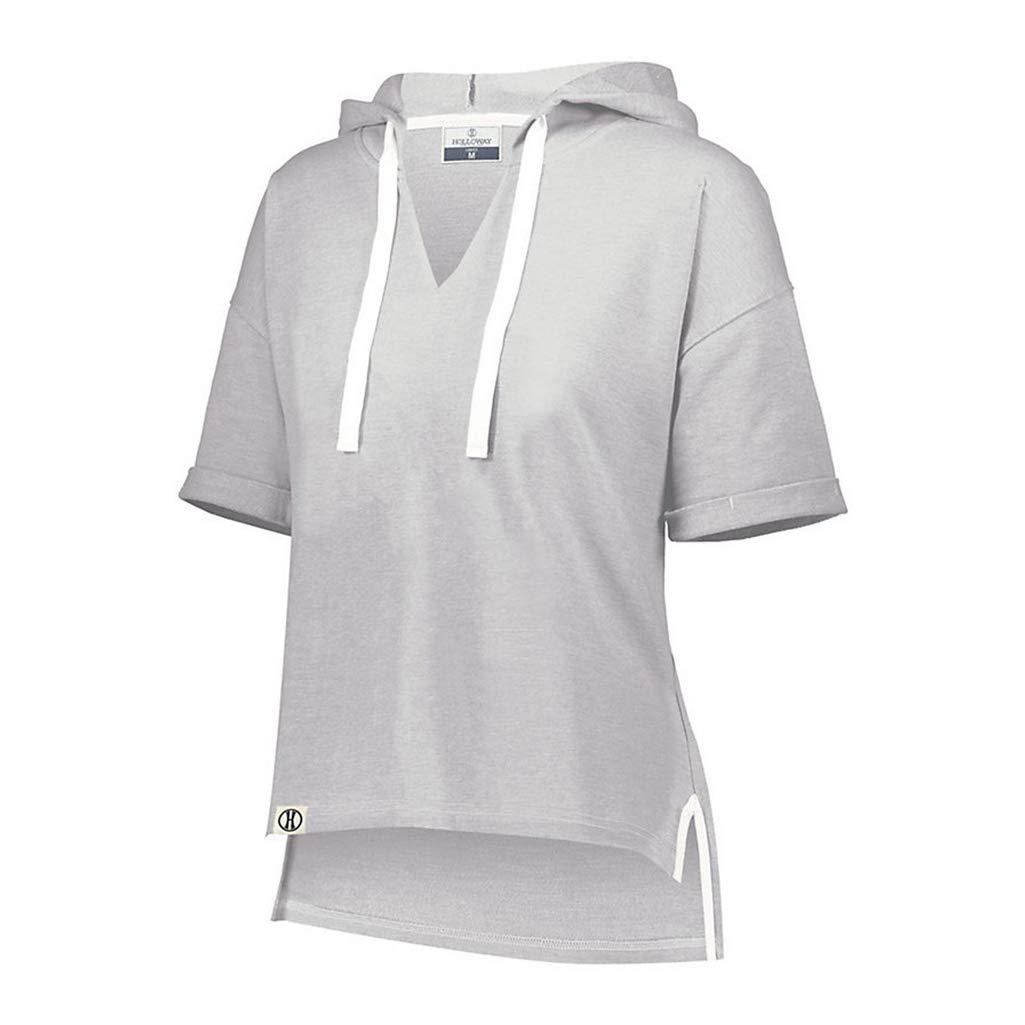 Holloway Sportswear Ladies Sophomore Short Sleeve Hoodie XS Athletic Heather
