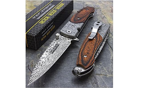 7'' DAMASCUS STYLE SPRING ASSISTED TACTICAL FOLDING KNIFE Blade Pocket Wood by TAC Force