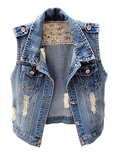 Kedera Womens Casual Sleeveless Denim Jean Cropped Vest Jacket (Blue, X-Large) (Cropped Denim Vest)